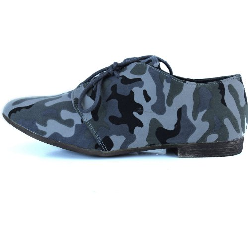 Womens Classic Lace up Flat Ballet Loafers Oxford Sneaker Shoes Grey Camouflage xDeWeE2