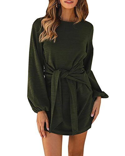 Long Sleeve Tie Back - Klousilover Womens Crewneck Casual Dress Tie Front Long Sleeve T Shirt Mini Dresses