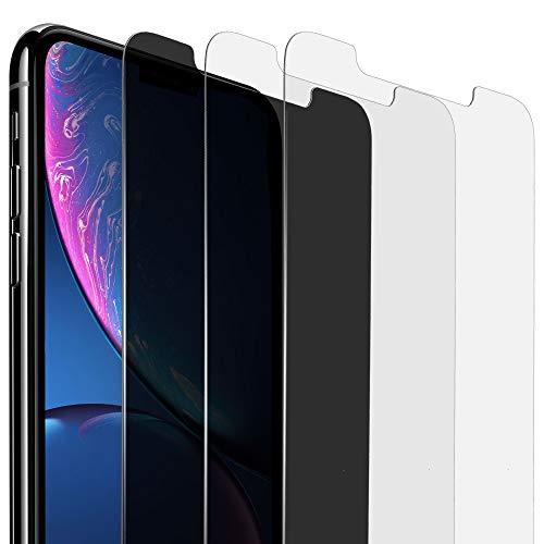 """iPhone XR Screen Protectors [Pack of 3] 1 x Anti-Spy Privacy Screen Protector + 2 x Tempered Glass Screen Protector 6.1 """", Anti-Scratch, Bubble Free, Highest Protection"""