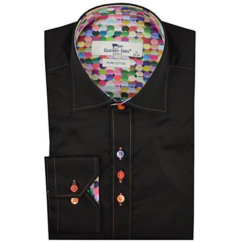 Claudio Lugli Balloon Print Trim Mens Shirt Luxury Long Sleeve Casual Party Wedding Cotton CP6229 2XLarge Black by Claudio Lugli