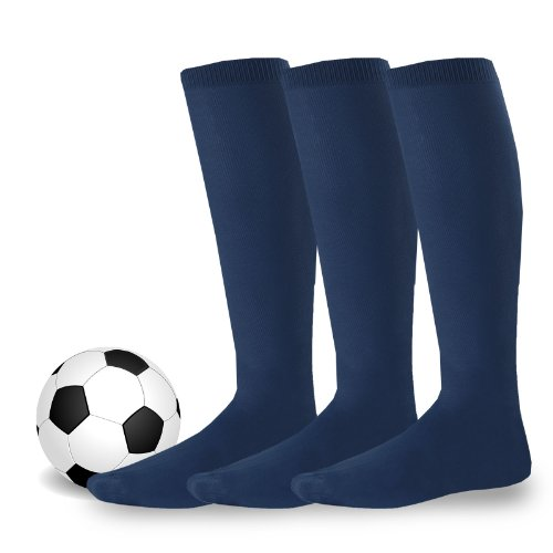 Soxnet Cotton Unisex Soccer Sports Team Socks 3 Pack (10-13, Navy)