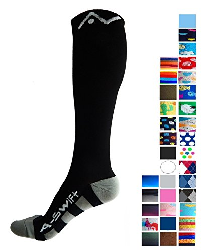 A-Swift Compression Socks for Women and Men - Black, Large (Ted Hose)