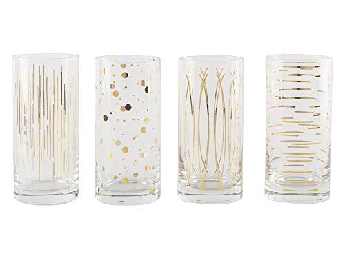 Mikasa Cheers Set Of 4 Highball Glasses, Metallic Gold, 450ml, Gift ()