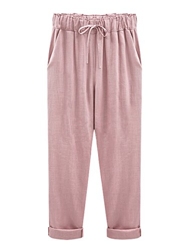 Yeokou Women's Casual Loose Baggy Linen Drawstring Summer Thin Cropped Harem (Easy Linen Cropped Pants)