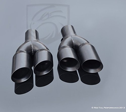 (Mina Gallery Black Exhaust Muffler Tips Dual Staggered 3