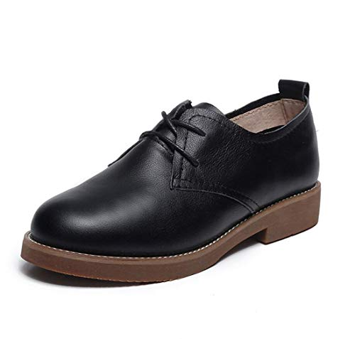 Mary Casual Autumn Jane College Mujer Zapatos Talón Plano De Retro Shoes Negro British WBqRUqAn