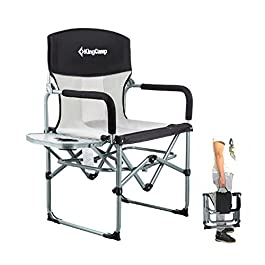 KingCamp Black/Navy Heavy Duty Compact Camping Folding Mesh Chair with Side Table and Handle