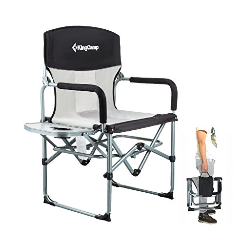 (KingCamp Heavy Duty Compact Camping Folding Mesh Chair with Side Table and Handle)
