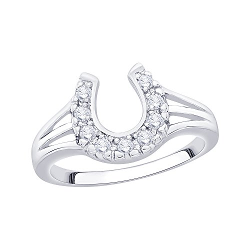 Horseshoe Ladies Ring Diamond (KATARINA Diamond Horse Shoe Fashion Ring in Sterling Silver (1/5 cttw) (I-Color, SI3/I1-Clarity) (Size-8))