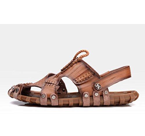 Brown Openwork Casual Moda Sandali Esterno da LEDLFIE Beach Scarpe Shoes 6BxznqSf