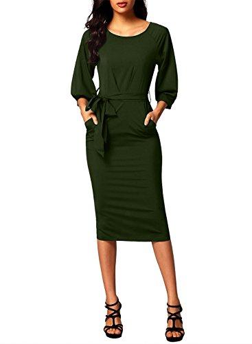 Pencil Skirt Dress (Dearlovers Women Long Sleeve Formal Pencil Dress Green Medium)