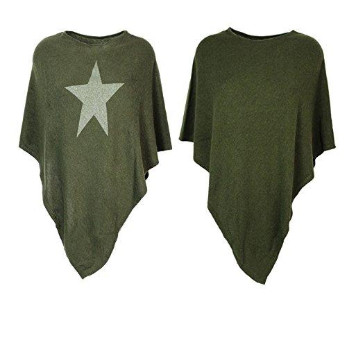 Glamexx24Jersey Poncho para Mujer, Elegante, chaqueta de punto con estrellas Rosa