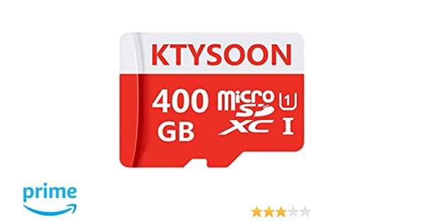 KTYSOON Tarjeta de Memoria microSDXC de 400 GB con Adaptador SD Class 10, Resistente al Agua
