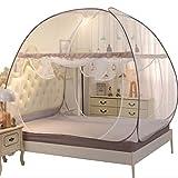 NSHUN Indoor Portable Folding Bedroom Sleeping Mosquito Net Tent Canopy Attached Bottom with Double Zipper Door (Size : 1.8m)