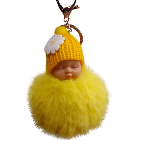 Fur Fluffy Key Chains, Cute Sleeping Baby Doll Keyrings, Fur Plush Pom Pom Bags Charm Pendant (Yellow) ()