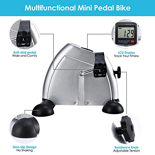 SYNTEAM Mini Exercise Bike with Electronic Display Under Desk Bike Arms Legs Exercise Machine (LWB02, Silver) by Synteam (Image #3)
