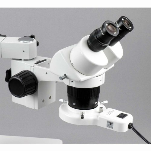 AmScope SW-3B24-FRL Binocular Microscope, WH10x Eyepieces, 10X and 40X Magnification, 2X/4X Objective, Single-Arm Boom Stand, 8W Fluorescent Ring Light, 110V-120V