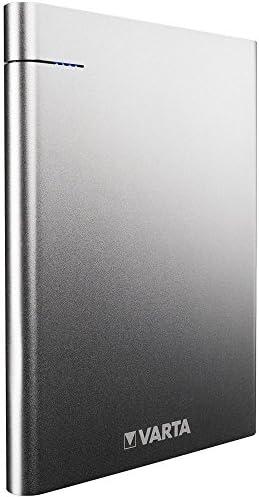 Varta Slim Powerbank voor smartphone/tablet, USB type C (5V/3A) en USB-uitgang (5V/2,4 A), oplaad- en ontlaadindicator, micro-USB-kabel grijs 18000mAh zwart
