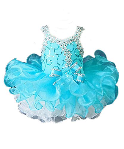 Beiji Cupcakes Small Girls' Sequins Toddlers Princess Short Pageant Dress 2/2T US Turquoise ()