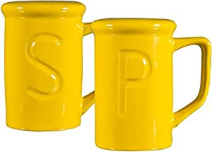 "Set Of 2 4""H Yellow Oven Salt&Pepper In Craft Gift Box"
