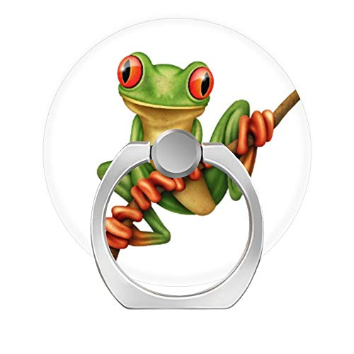 - LoveStand-Cell Phone Ring Holder 360 Degree Finger Ring Stand for Smartphone Tablet and Car Mount-Cute Green Tree Frog on a Branch on White