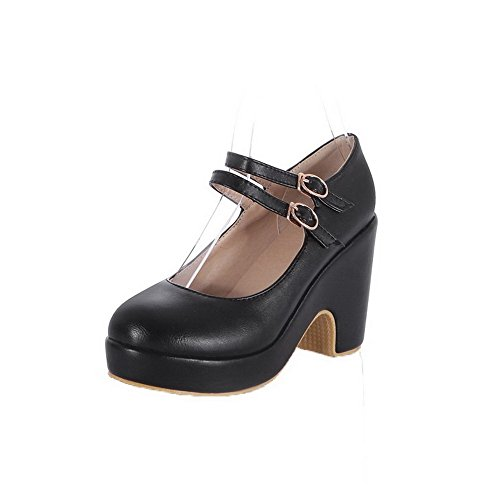 Odomolor Women's Pull-On High-Heels PU Solid Round-Toe Pumps-Shoes, Black, 37
