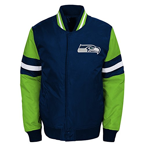 Outerstuff NFL Seattle Seahawks Youth Boys Legendary Color Blocked Varsity Jacket Dark Navy, Youth Medium(10-12)
