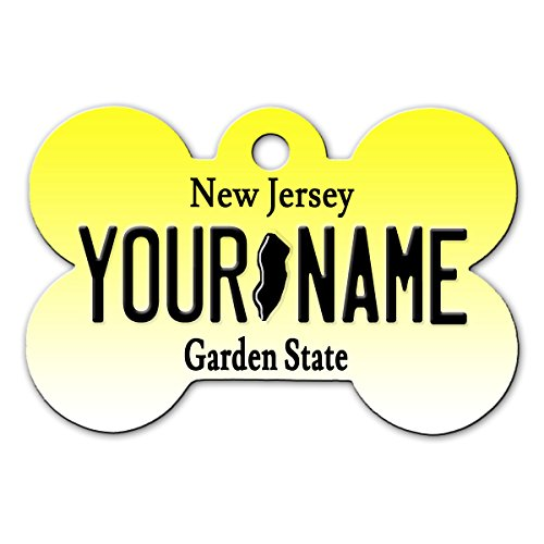 BleuReign(TM) Personalized Custom Name New Jersey State License Plate Bone Shaped Metal Pet ID Tag with Contact Information