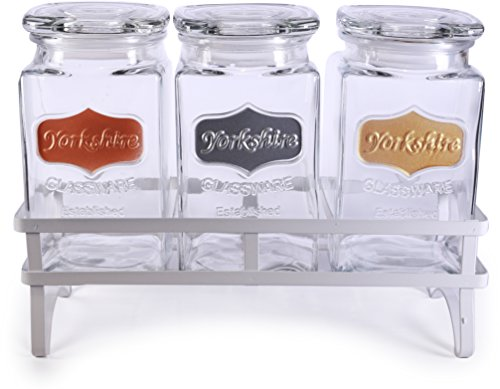 Panel Water Goblet - Circleware 68206 Yorkshire Canister Jar with Glass Lid Metallic Panel & White Stand, Set of 3 Kitchen Glassware Food Preserving for Coffee Sugar, Tea, Spices, Cereal, 42 oz, Gold, Copper, Silver