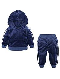 Macondoo-CA Big Boys Hooded Velour Stripe Sweatshirt Pants Casual Tracksuit Set