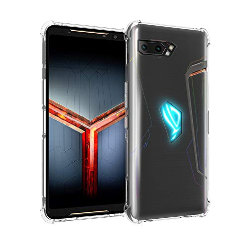 Orzero Soft TPU Case Compatible for ASUS ROG Phone 2 2019 (Not Fit for 1st Gen), Rubber Elastic Airbag Shock Absorbing Body Protection Phone Case -Crystal Clear