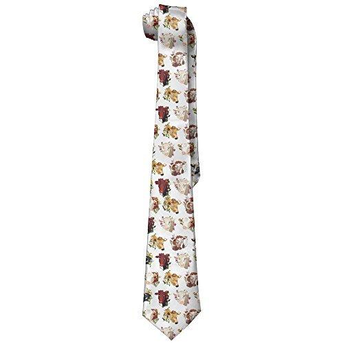 Cow Tie (DNUPUP Cows Pattern Polyester Silk Faldable Gentleman Tie Necktie Gift Box)