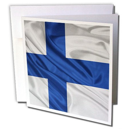 3dRose Bandera de Finlandia – Tarjetas de felicitación, 15,24 x 15,24 cm, juego de 12 (gc_28247_2)