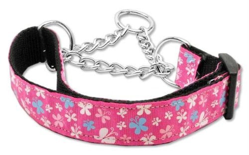 Mirage Pet Products Martingale Butterfly Nylon Ribbon Collar, Medium, Pink