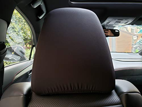 ITAILORMAKER 2X Black Universal Headrest Covers for Cars Trucks-Ultra Fit High Density Lycra Spandex Fabric All Over-Set of 2