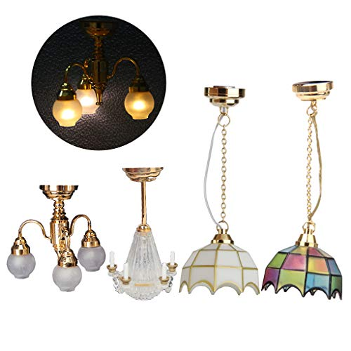 Doll Lamp - Fenteer 1/12 Scale Light Miniature Ceiling Light Chandelier Doll House LED Lamp for Dollhouse Decoration Toys 4 Pieces