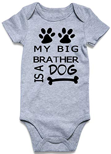 UNICOMIDEA Baby Jumpsuit,Boys Onesie Infant Letter Romper of My Big Brather is A Dog Jumpsuit Funny Outfits Cute Suit Clothes,L ()