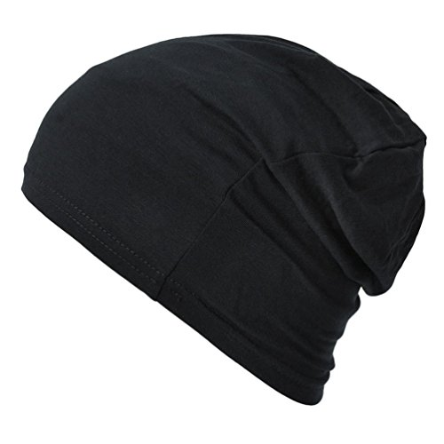 CasualBox Mens Thermal Stretch Sports Made in Japan Tight Beanie Hat Black ()