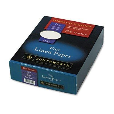 25% Cotton Linen Business Paper, Gray, 24 lbs., 8-1/2 x 11, 500/Box, FSC, Sold as 1 Ream