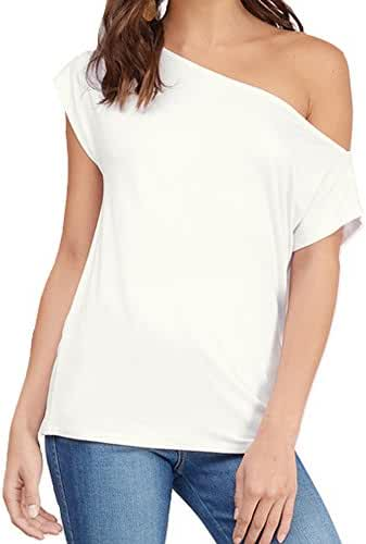 Women's Casual Off Shoulder Lose Sexy Short Sleeveless Blouse Tops T Shirt