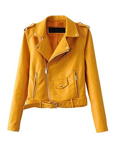 Chaquetas Para Mujer Otoño Invierno Blazers Chaqueta Con Cremallera Casual Cazadoras De Cortos De Cuero Pu Amarillo