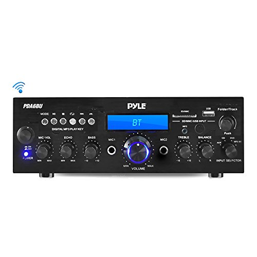 - Wireless Bluetooth Power Amplifier System - 200W Dual Channel Sound Audio Stereo Receiver w/ USB, SD, AUX, MIC IN w/ Echo, Radio, LCD - For Home Theater Entertainment via RCA, Studio Use - Pyle PDA6BU