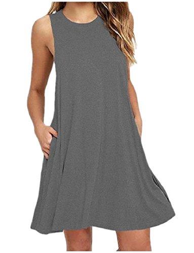 ペックギャラリー地質学Tootess Women's Solid-Colored Sleeveless Round Neck Slim Fit Mini Dress