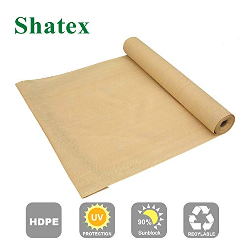 Shatex 90% Sun Shade Fabric, Sun-Block Net Mesh Shade with Clips for Pergola Cover Porch Vertical Screen 8x12ft, Beige ()