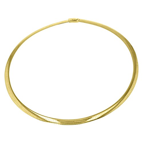 BH 5 Star Jewelry 14kt Yellow Gold Diamond Cut Classic Omega Chain with Box Catch (16, 3.0 mm) -
