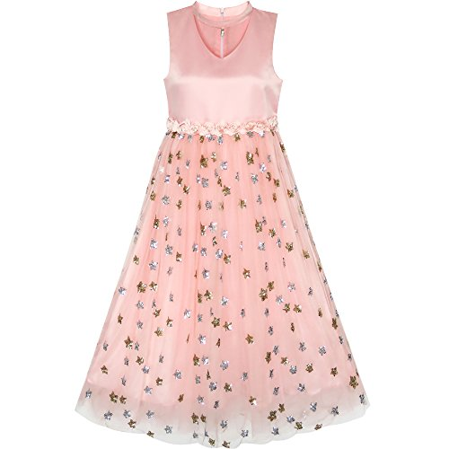 LE95 Flower Girls Dress Sparkling Sequins Star Pearl Wedding Party Size (Girls Star Dress)