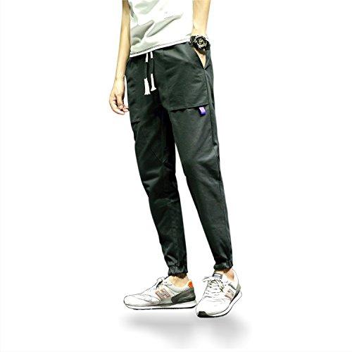 Men's Casual Basic Slim Fit Elastic Waist Twill Cargo Pants (M, Black)