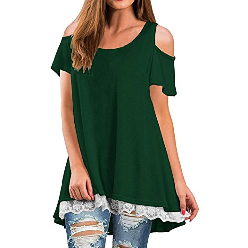 - Women Shirt Dress Short Sleeve,Lelili Fashion Lace Patchwork Crewneck Pleat Swing Blouse Tops Sweatshirt (2XL, Green 2)
