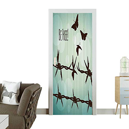 Homesonne Waterproof Decoration Door DecalslowerSymmetric SnFloral Ornaments Stylized Perfect ornamentW23.6 x H78.7 INCH