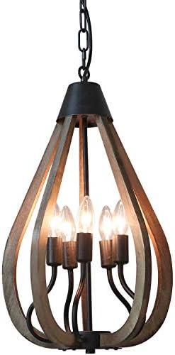 Eumyviv 5-Light Droplet Wood Farmhouse Chandelier Light Fixture, 13.3 Industrial Rustic Pendant Lamp Vintage Edison Ceiling Island Lighting Fixture, Brown Wood Black Metal P0049